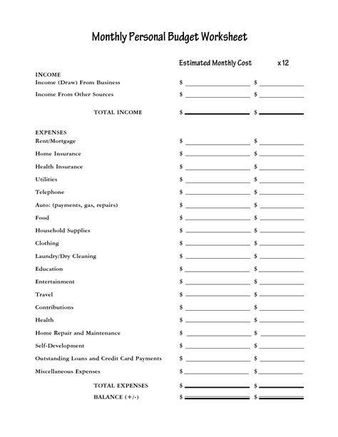blank personal budget template printable blank monthly budget worksheet monthly budget