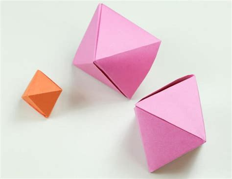 Origami Simple Box - how to fold a simple origami octahedron box decoration