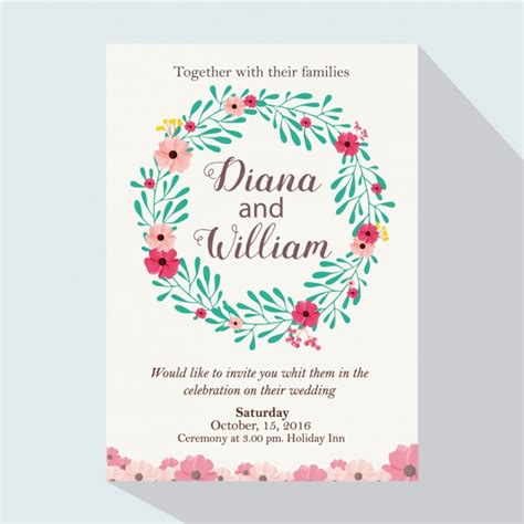 Coloured Card For Wedding Invitations by Coloured Wedding Invitation With Floral Wreath Vector