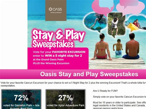 Play Sweepstakes - oasis stay and play sweepstakes