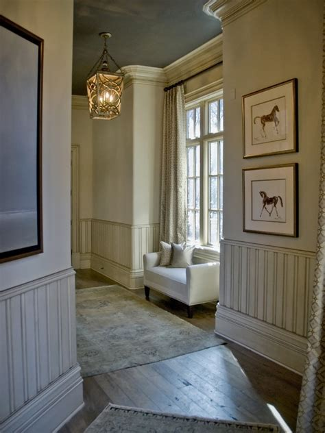 lovely wainscot decorating ideas hallway with sky color ceiling and painted wainscot http