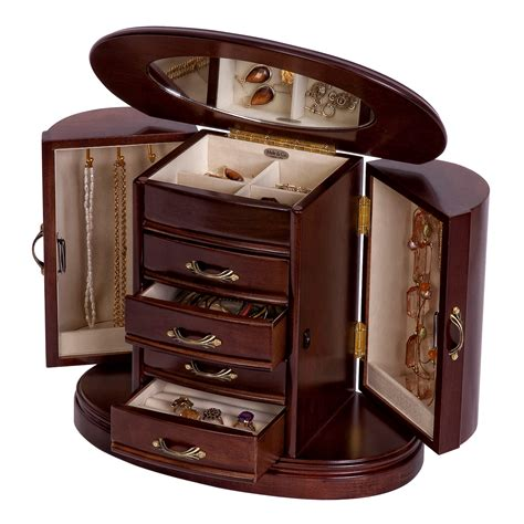 armoire jewelry box mele heloise wooden jewelry box in walnut finish