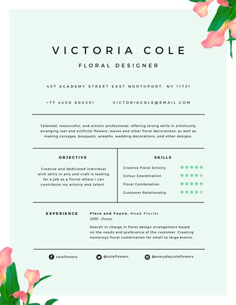 flower design resume r 233 sum 233 templates canva