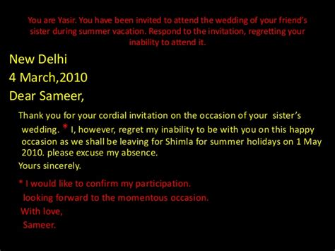 accepting and declining invitations - Reply To Wedding Invitation Not Able Attend