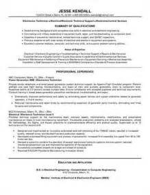 Electronic Templates by Here Is A Sle Of An Electronics Technician Resume
