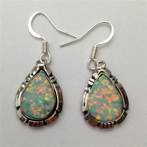 Handmade Dangle Earrings - sterling silver navajo handmade white opal teardrop