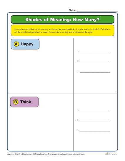 Shades Of Meaning Worksheets by Shades Of Meaning Worksheet How Many