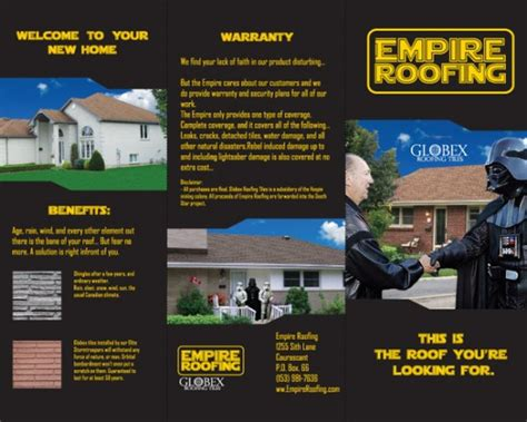 empire roofing geekiest home improvement brochure