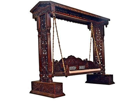 jhula swing jali flower design wooden carved maharaja swing set