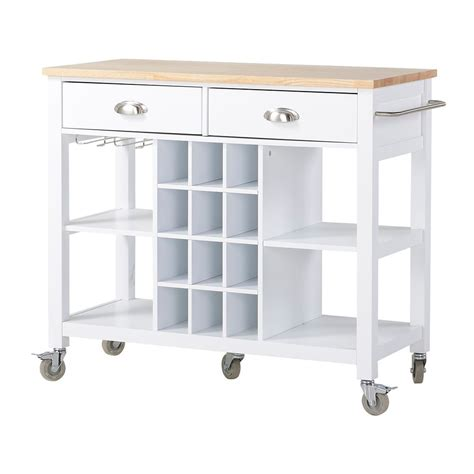 White Kitchen Cart Island Homestar Grand 238 Lot Et Desserte De Cuisine En Blanc Home