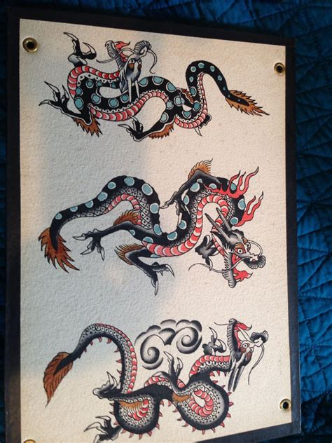 traditional dragon tattoo designs fred marquand tattoos flash vintage