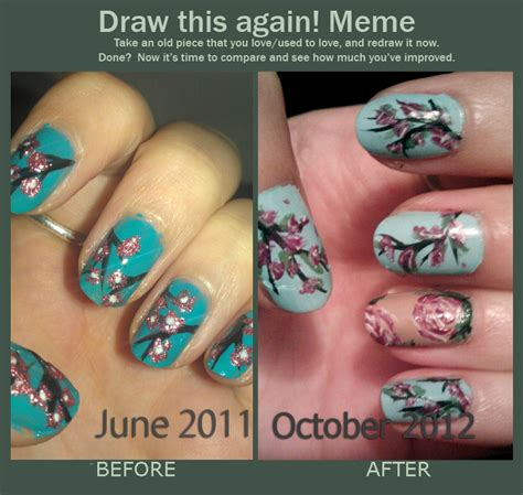 Nail Art Meme - draw this again cherry blossom nail art by kahlz on