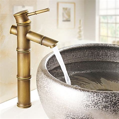 Bamboo Bathroom Vessel Sink Faucet Aquafaucet Antique Brass Bamboo Shape Bathroom Sink Vessel