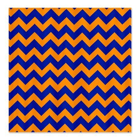 Chevron Blue Orange Shower Curtain On
