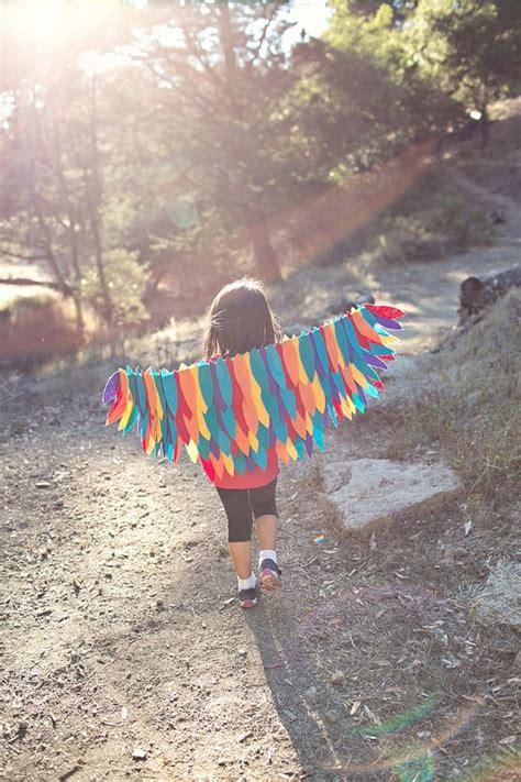 diy rainbow bird wing costume