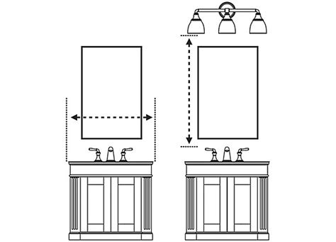 Proper Height For Bathroom Vanity Mirror Medicine Cabinets Mirrors Guide Bathroom Kohler