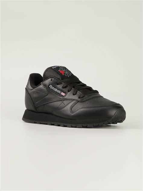 reebok black sneakers reebok classic leather sneakers in black lyst