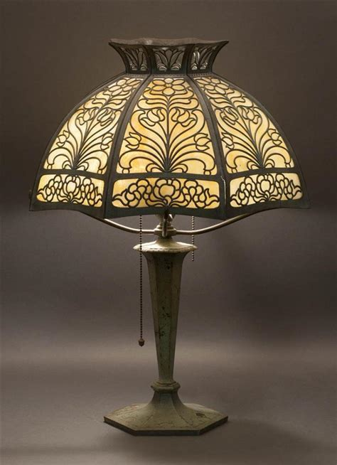 slag glass l shade lamp with copper and slag glass shade shade composed o