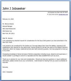 Sle Chef Cover Letter by Cover Letter Sous Chef Resume Downloads