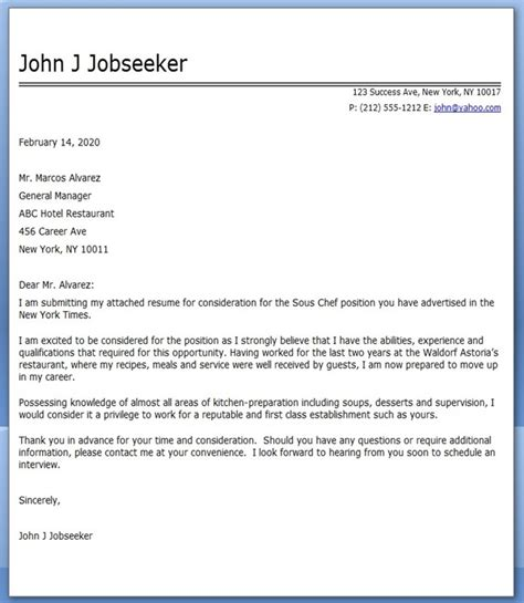 chef cover letter for resume