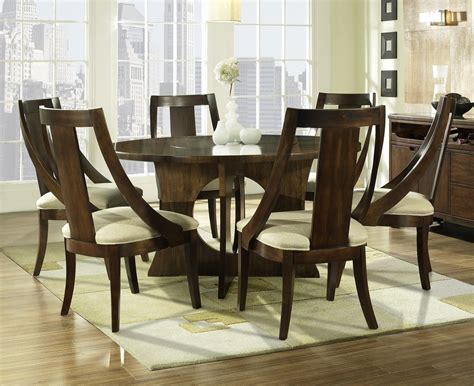 wood dining room sets manhattan 7 piece 56 inch round dining room set in walnut
