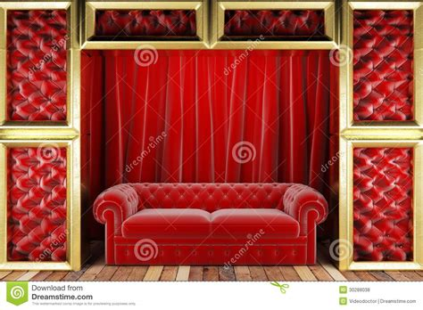 red fabric couch red fabric curtain and sofa on golden stage royalty free