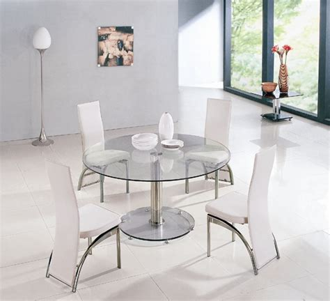 glass dining table and 6 white faux leather chair