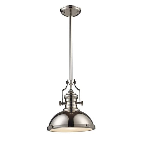 Nickel Pendant Light Titan Lighting Chadwick 1 Light Polished Nickel Ceiling Mount Pendant Tn 10011 The Home Depot
