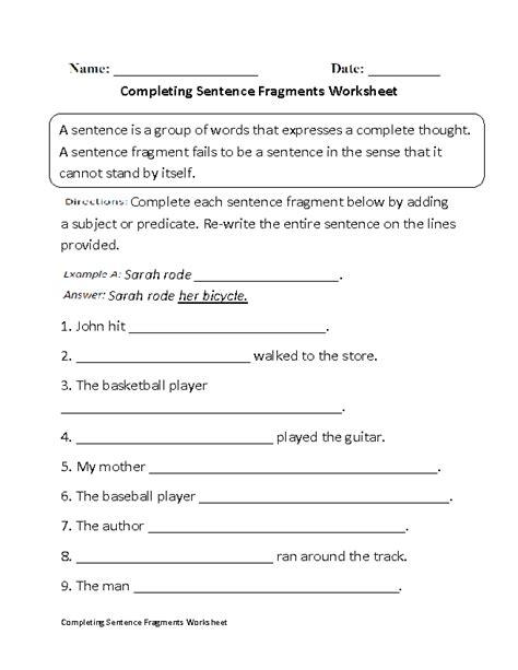 Free Sentence Fragment Worksheets by Englishlinx Sentence Fragments Worksheets