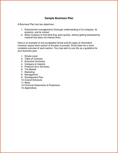 template simple business plan simple business plan template easy business plan template