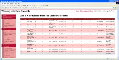 template field in gridview asp net c inserting a new record from the gridview s footer vb