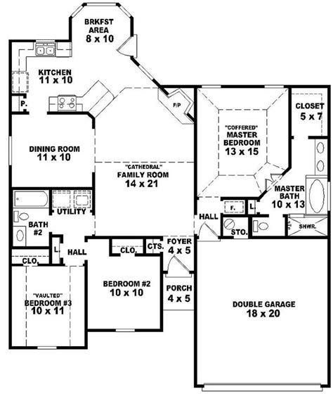 3 bedroom 2 bath floor plans 654060 one story 3 bedroom 2 bath style house
