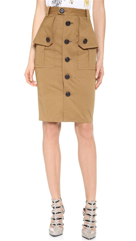 dsquared2 utility pencil skirt in khaki lyst