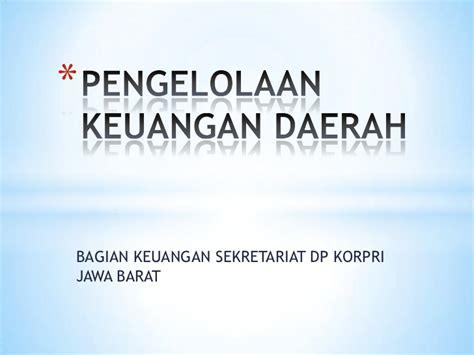 Pengelolaan Keuangan Daerah Pramono Hariadi pengelolaan keuangan daerah