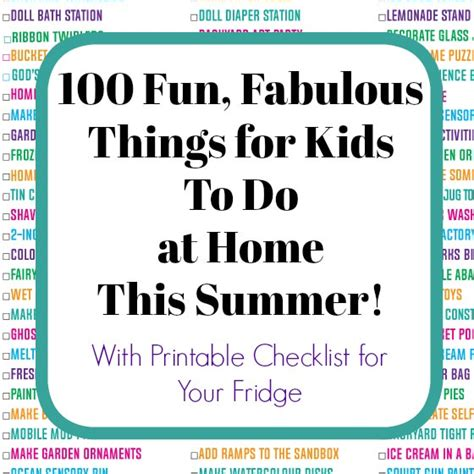 100 things for to do at home this summer with