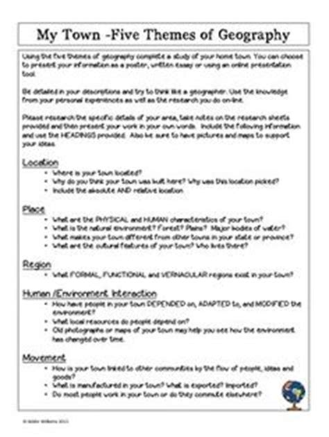 five themes of geography handout printables 5 themes of geography worksheets