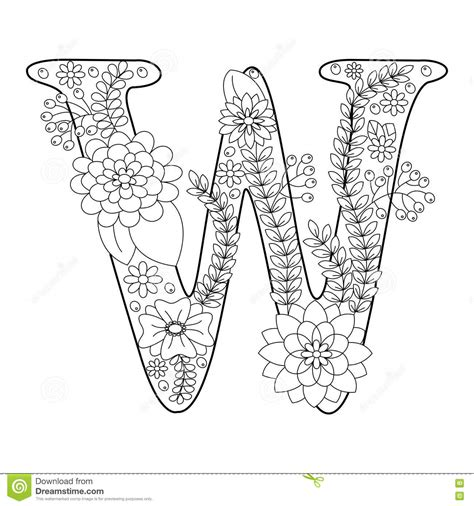coloring pages for adults vector letter w coloring book for adults vector stock vector