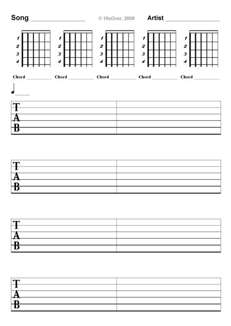 free printable blank sheet music for guitar banjo blank