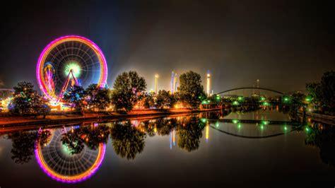 hd theme park wallpaper urban amusement park ferris wheels hdr photography