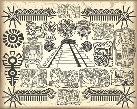 maya and aztec vector symbols