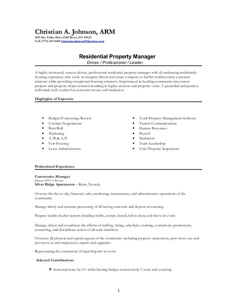 residential manager resume