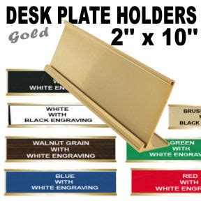 Plat Aluminium 10 X 90 X 300 Alumunium name plate holder for desk 2 quot x 10 quot gold metal with choice of engraving plate color loria awards
