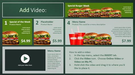 restaurant menu powerpoint template create digital menu boards with powerpoint