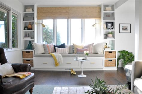 Diy Living Room Built Ins Window Seat And Built Ins Reveal Befores Middles And