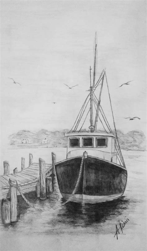 fishing boat drawing easy old fishing boat ceruzarajz pinterest fishing boats