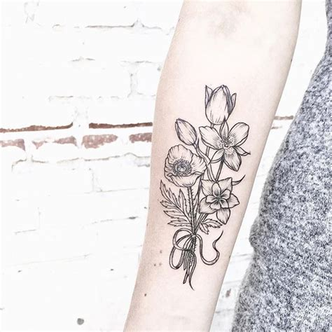 bouquet of flowers tattoo 30 beautiful black and white flower tattoos for