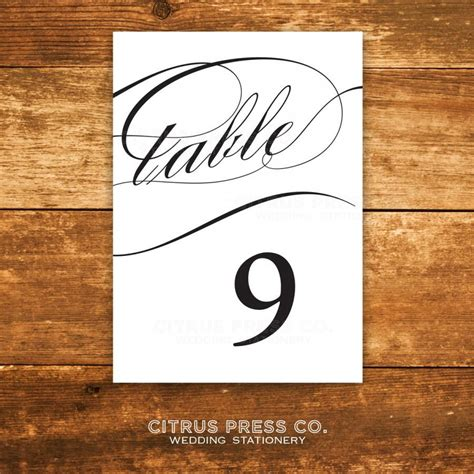 wedding table number printable 4x6 instant by 4x6 printable caligraphy table numbers 4x6 instant