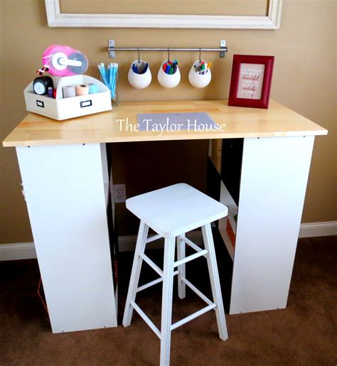 Diy Inexpensive Craft Table With Storage The Taylor House Diy Craft Desk With Storage