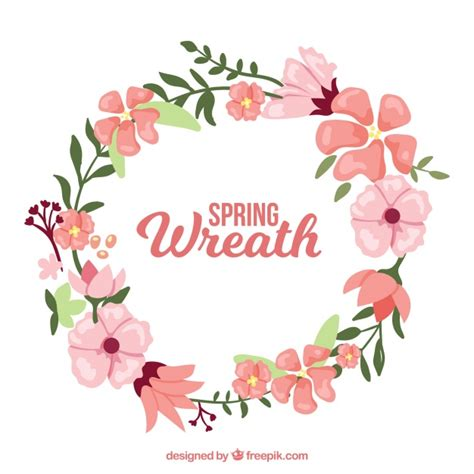 decorative flower decorative wreath with pink flowers vector free