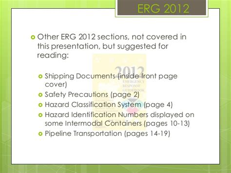 erg sections hazardous materials 2013